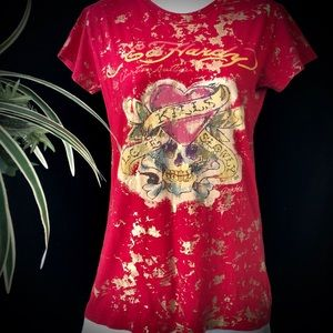 Ed Hardy Red & Gold Graphic Tee
